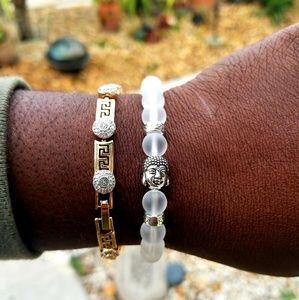 Other - Unisex Silver & Clear Bhudah Bracelet
